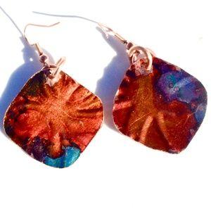 Red Blue Solid Copper Diamond Earrings Embossed